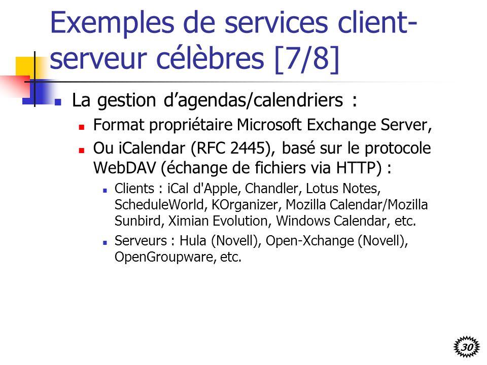 Exemples de services client-serveur célèbres [7/8]